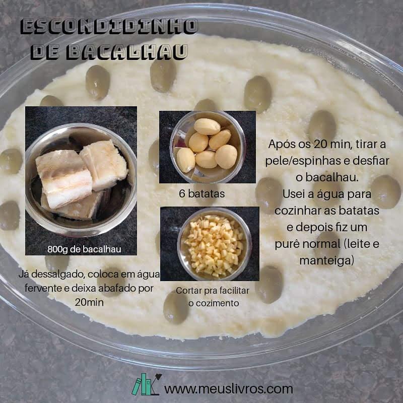Ingredientes e modo de preparar a receita de escondidinho de bacalhau